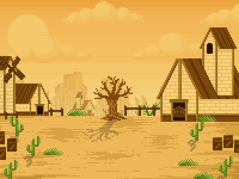 2d sprite sheet background cowboy western church